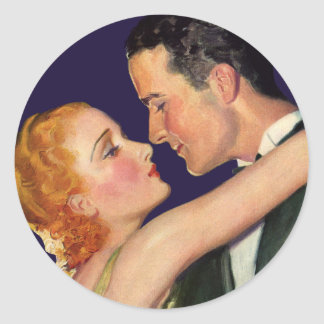 Vintage Love and Romance, Retro Hollywood Movies Classic Round Sticker