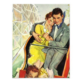 Vintage Love and Romance Roller Coaster Invitation