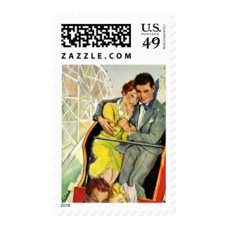 Vintage Love and Romance, Roller Coaster Ride Postage Stamps