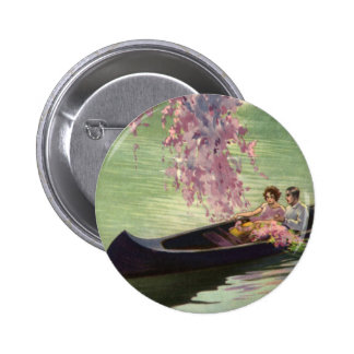 Vintage Love and Romance, Romantic Canoe Ride Pinback Button