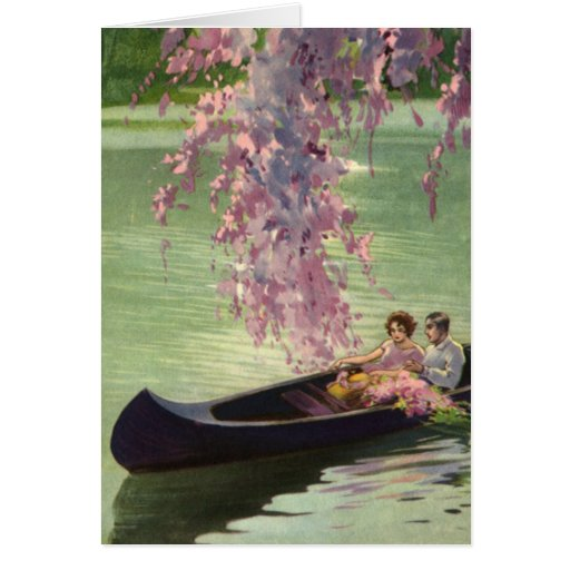 Vintage Love and Romance, Romantic Canoe Ride Greeting Cards
