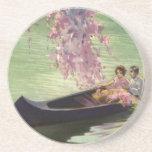 Vintage Love and Romance, Romantic Canoe Ride Drink Coaster