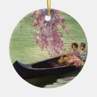 Vintage Love and Romance Romantic Canoe Ride Ornament