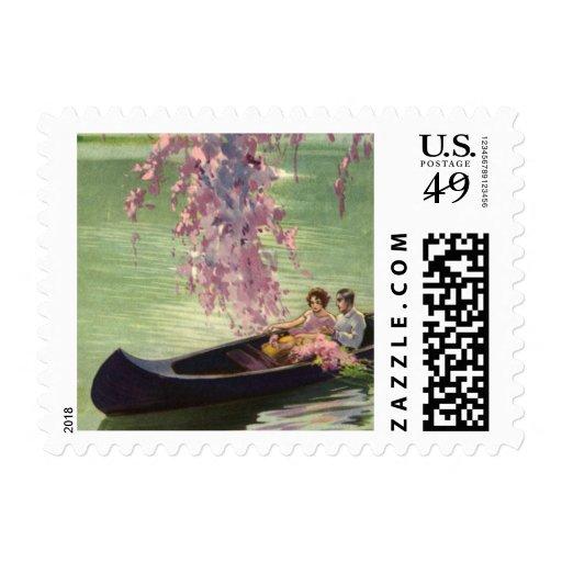 Vintage Love and Romance, Romantic Canoe Ride Postage