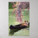 Vintage Love and Romance, Romantic Canoe Ride Print
