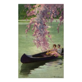 Vintage Love and Romance, Romantic Canoe Ride Poster