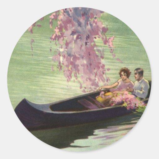 Vintage Love and Romance, Romantic Canoe Ride Sticker