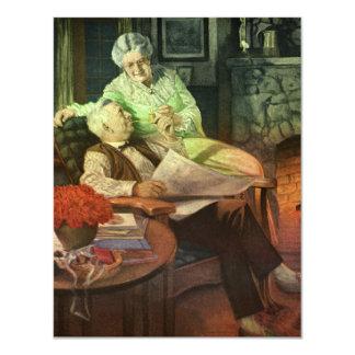 Vintage Love and Romance; Romantic Grandparents 4.25x5.5 Paper Invitation Card
