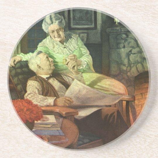 Vintage Love and Romance; Romantic Grandparents Sandstone Coaster