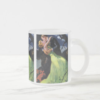 Vintage Love and Romance, Romantic Kiss Frosted Glass Coffee Mug
