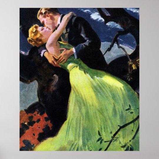 Vintage Love and Romance, Romantic Kiss Poster