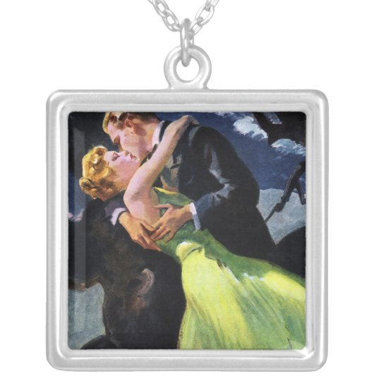 Vintage Love and Romance, Romantic Kiss Silver Plated Necklace