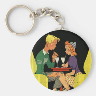 Vintage Love and Romance, Teens at the Soda Shop Keychain