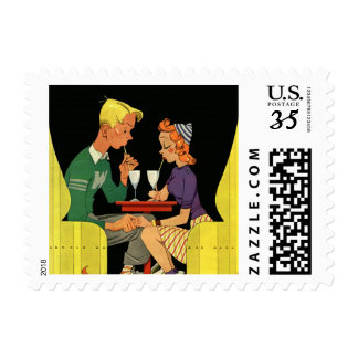 Vintage Love and Romance, Teens at the Soda Shop Postage Stamp
