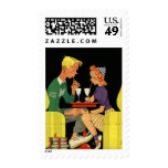 Vintage Love and Romance, Teens at the Soda Shop Stamp
