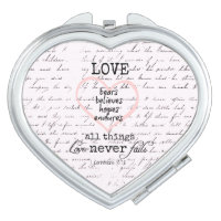 Vintage Love Bible Verse Compact Mirror