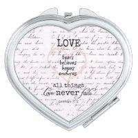 Vintage Love Bible Verse Compact Mirror