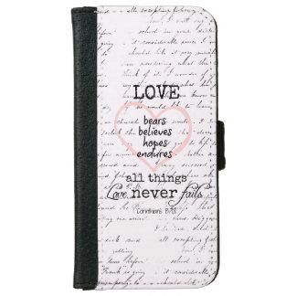 Vintage Love Bible Verse iPhone 6/6s Wallet Case