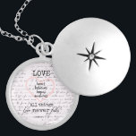 """Vintage Love Bible Verse Locket Necklace<br><div class=""""desc"""">Vintage Love Bible Verse gifts. Black and white canvas print with beautiful antique handwriting background,  featuring the bible verse about love from Corinthians. Love bears,  believes,  hopes,  endures all things. Love Never Fail. See more at our store,  Christian Quotes. Link below:</div>"""