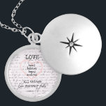"Vintage Love Bible Verse Locket Necklace<br><div class=""desc"">Vintage Love Bible Verse gifts. Black and white canvas print with beautiful antique handwriting background,  featuring the bible verse about love from Corinthians. Love bears,  believes,  hopes,  endures all things. Love Never Fail. See more at our store,  Christian Quotes. Link below:</div>"