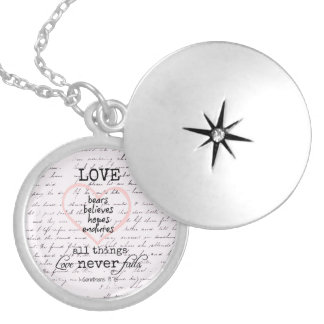 Vintage Love Bible Verse Locket Necklace