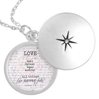 Vintage Love Bible Verse Round Locket Necklace