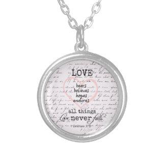 Vintage Love Bible Verse Round Pendant Necklace