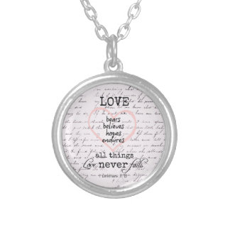 Vintage Love Bible Verse Silver Plated Necklace