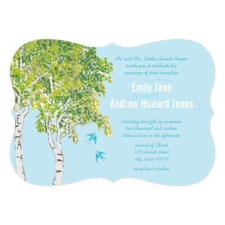 Vintage Love Bird Birch Tree Wedding Invitations