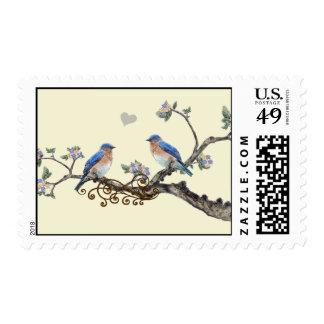 Vintage Love Bird Bluebirds Sitting in a Tree Postage