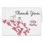 Vintage Love Bird Cherry Blossom Wedding Thank You Greeting Cards