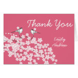Vintage Love Bird Cherry Blossom Wedding Thank You Card