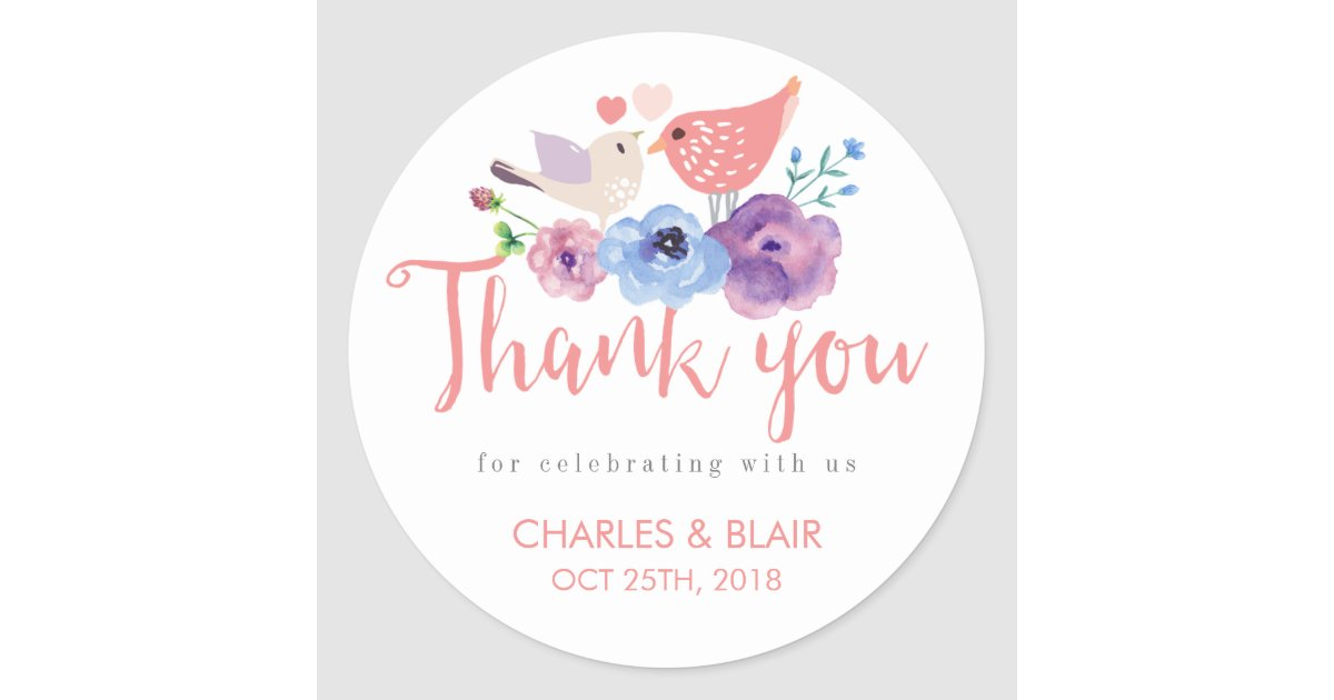 vintage love bird floral thank you wedding sticker zazzle com