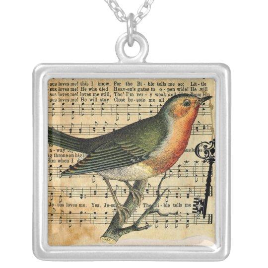 Vintage Love Bird Key Necklace