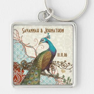 Vintage Love Bird Peacock Damask Wedding Key Chain