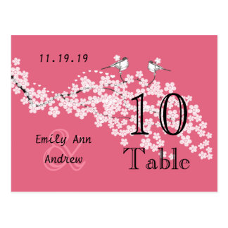 Vintage Love Bird Pink Cherry Blossom Table Number Postcard