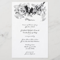 Vintage Love Bird White Flower Branch Wedding Menu
