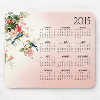 Vintage Love Birds 2015 Calendar blush pink white Mouse Pad