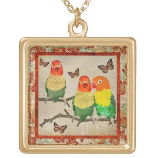 Vintage Love Birds & Amber Butterflies Necklace