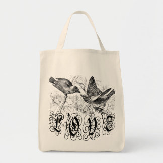 Vintage Love Birds Apparel and Gifts Tote Bag
