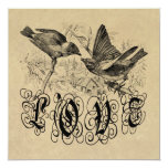 Vintage Love Birds Apparel and Gifts 5.25x5.25 Square Paper Invitation Card