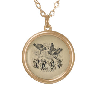 Vintage Love Birds Apparel and Gifts Round Pendant Necklace