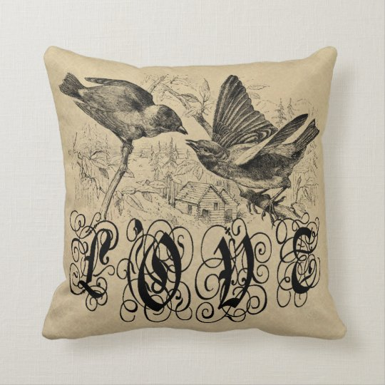 Vintage Love Birds Apparel and Gifts Throw Pillow