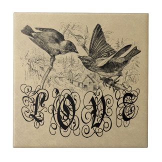 Vintage Love Birds Apparel and Gifts Tile