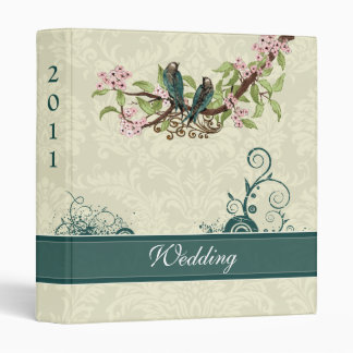 Vintage Love Birds Aqua Teal Pink Wedding Planner 3 Ring Binder
