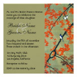 Vintage Love Birds Autumn Wedding Invitation Announcement