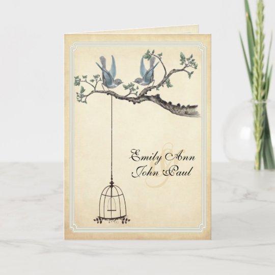Wedding Invitations Birdcage: Vintage Love Birds Bird Cage Wedding Invitations