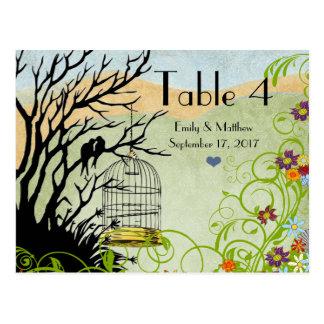 Vintage Love Birds & Bird Cage Wedding Number Card