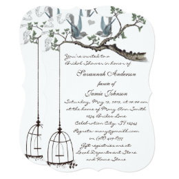 Vintage Love birds Birdcage Bridal Shower Invite