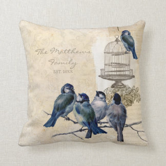 Vintage Love Birds Birdcage Family Personalized Throw Pillow